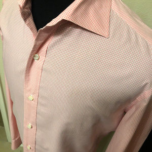 Isaia Shirts - isaia napoli dress shirt size 16 pink check cotton